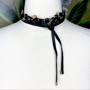 INC Black Gold Tone Bow Statement Choker Necklace